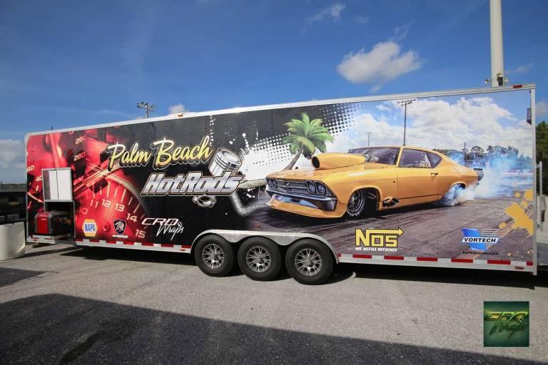 Custom 32' Race Trailer Wrap Palm Beach HotRod