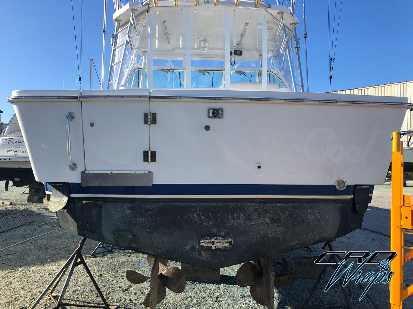 Complete Color Change Wrap with Custom Designed Transom Boat Wrap